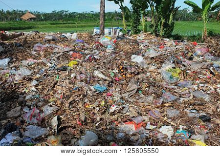 BALI, INDONESIA - April 10, 2016: Illegally-dumped garbage and plastic bags contaminate agricultural land at a waste-recycling center in Pejeng on April 10, 2016 in Ubud, Bali, Indonesia.