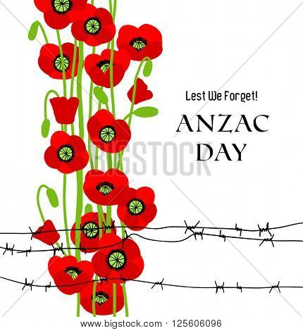 Poppies and barbed wire commemorative card for design banner,ticket, leaflet and so on. Template page.