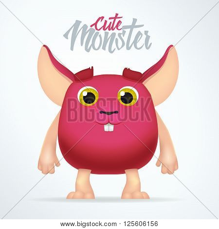 Cute magenta monster rabbit with big ears. Fun spooky fat character isolated on light background. Silly cartoon alien mouse.