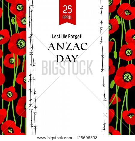 Commemorative Anzac card for design banner,ticket, leaflet and so on.Template page.