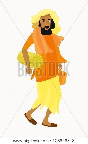 Indian Yogi man in the orange garb. vector illustration