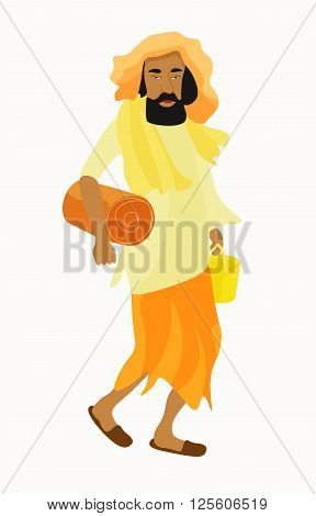 Indian Yogi man in white garb. vector illustration