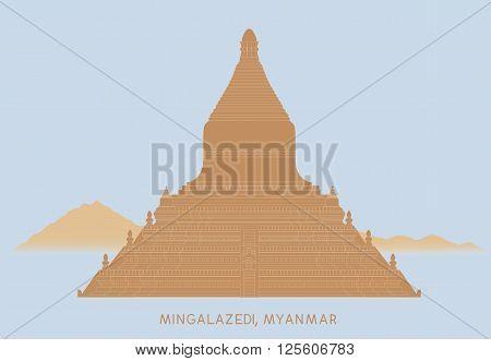 vector of Mingalazedi Pagoda in Bagan Myanmar