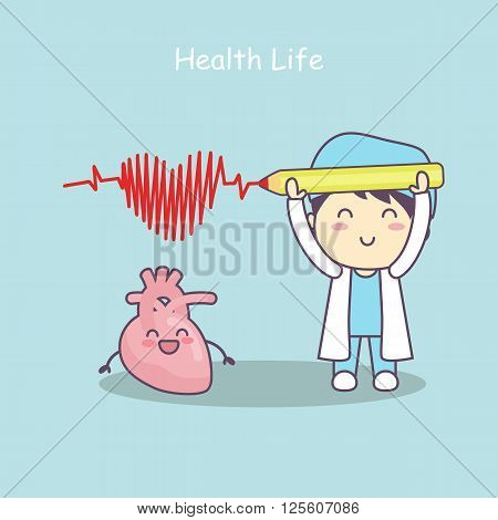 cute cartoon heart with doctorhealth life great for health care concept