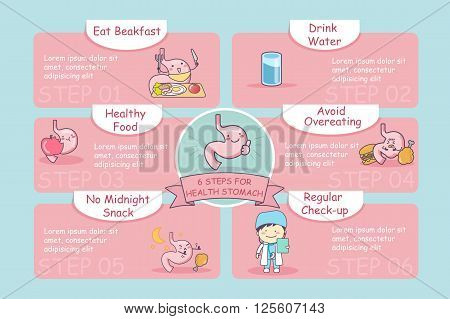 6 steps for health cute cartoon stomach great for health care concept