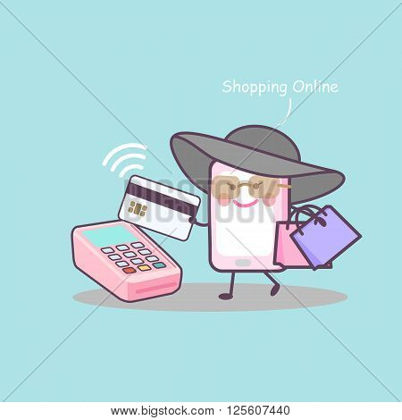 cute cartoon smart phone shopping online with credit card great for your design