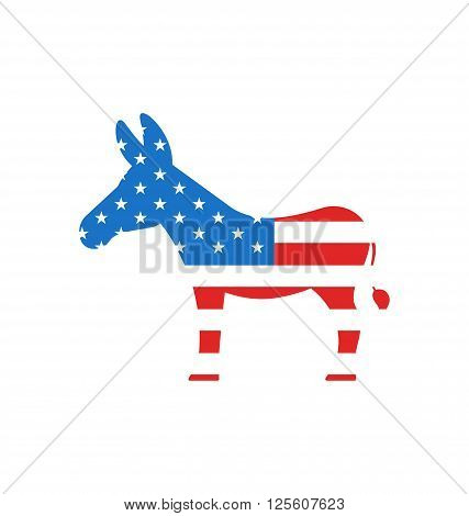 Illustration Donkey as a Symbol of American Democrats, Isolated on White Background. American Vote 2016 - Vector