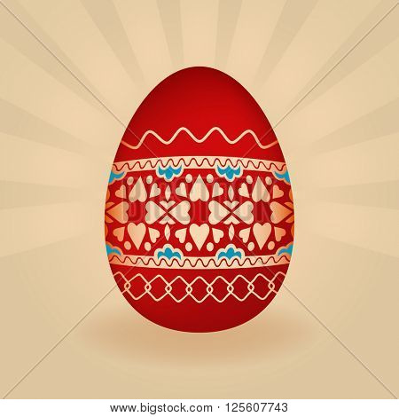 Red Easter egg with ornament vector illustration.