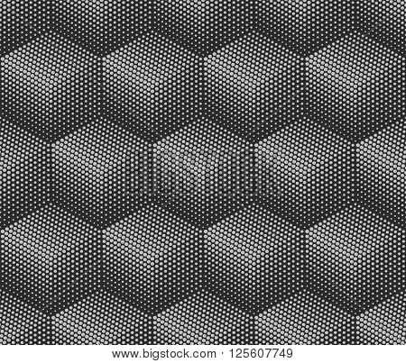 Abstract monochrome 3D cubes halftone vector background.
