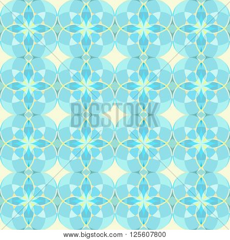 Seamless yellow and cyan circle vector pattern.