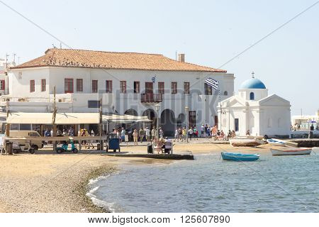 Harbour front with church in Mykonos Greece