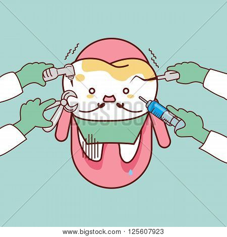 cartoon dentist or doctor hand hold dental tools with decayed tooth sit on the chair great for dental care concept