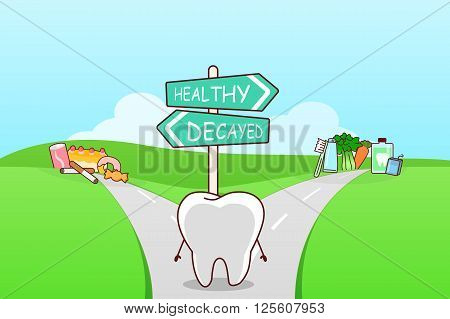 cute cartoon tooth think confused between health food and unhealth food on the seperated road great for health dental care concept