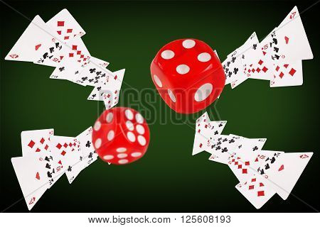 Playing cards an dice flying at the poker table. 3D illustration
