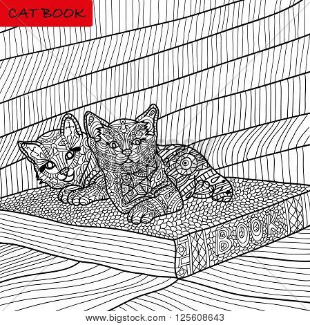 coloring book for adults - kittens on the book - zentangle cat book ink pen black and white background intricate pattern