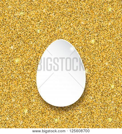 Illustration Abstract Happy Easter Paper Egg on Golden Sparkles Background - Vector