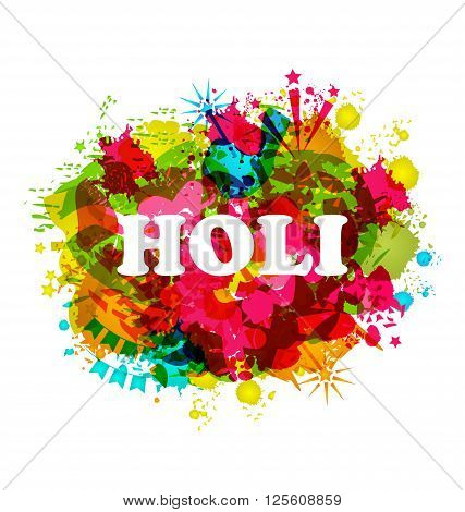 Illustration Indian Festival Holi Celebration Traditional Background, Abstract Art Grunge Texture, Colorful Blurs - Vector