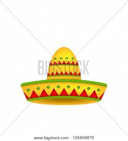 Illustration Mexican Hat Sombrero Isolated on White Background. Symbol of Mexico - Vector