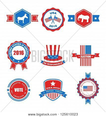 Set of Various Voting Graphics Objects and Labels, Emblems, Symbols, Icons and Badges for Vote USA. Templates and Design Elements. Isolated on White Background - Vector