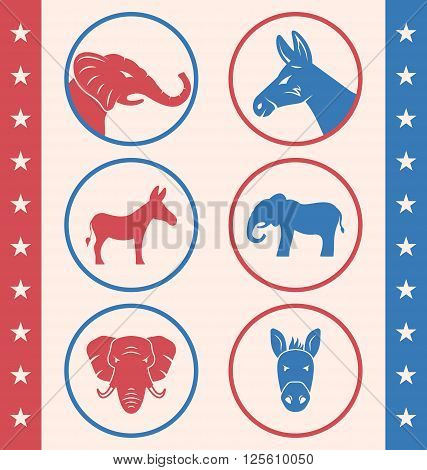 Illustration Vintage Style of Button for Vote or Voting Campaign Election. Collection Old Badge with Symbols of United States Political Parties - Vector