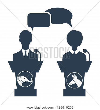 Illustration Debate of Republican vs Democrat. People Icons Isolated on White Background - Vector