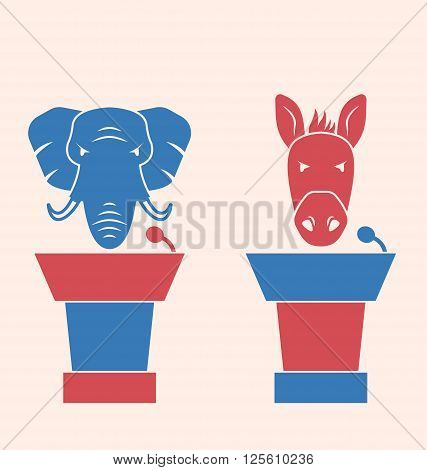 Illustration Concept of Debate Republicans and Democrats. Donkey and Elephant as a Orators Symbols Vote of USA. Retro Style Design - Vector