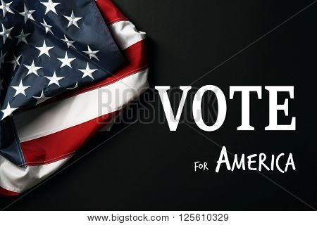 Text Vote for America and USA National Flag on black background