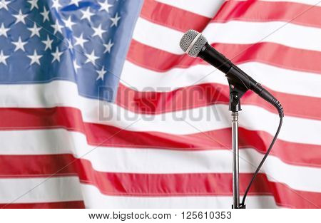 Microphone on USA National Flag background