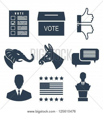 Illustration Elections, Campaign and Voting Set Signs. Symbols Vote of USA. Objects Isolated on White Background - Vector