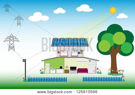 Installation Solar on rooftop for saving energy of renewable concept