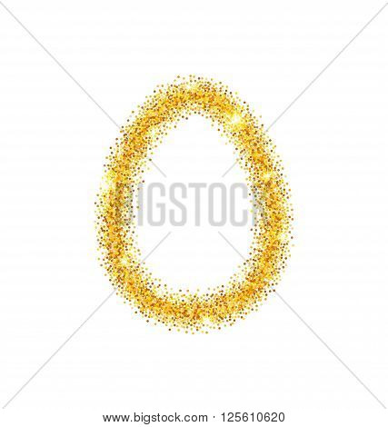 Illustration Abstract Happy Easter Golden Glitter Egg with Place for Your Text. Easter Shining Template Design - Vector