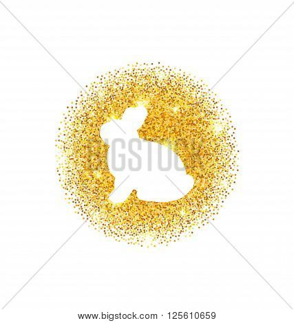 Illustration Abstract Happy Easter Golden Glitter Rabbit. Easter Shining Template Design - Vector