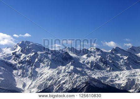 View on snowy mountains in nice sunny day. Caucasus Mountains. Svaneti region of Georgia.