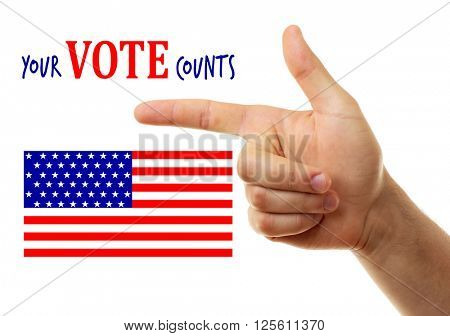 Pointing hand and text Your vote counts isolated on white