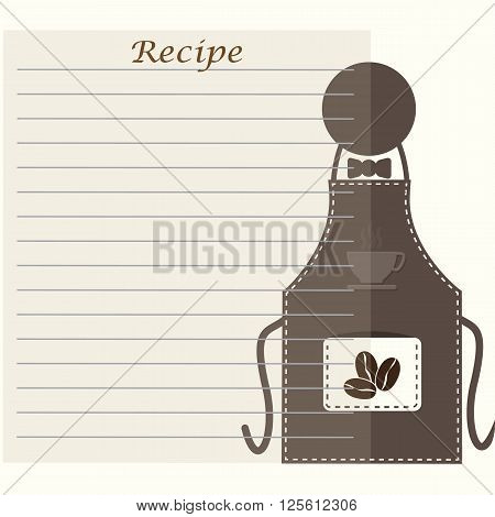 Apron with recipe paper cooking book page concept for background