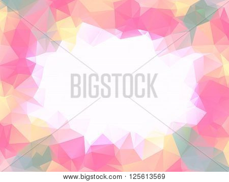 Pastel warm colors polygon background or vector frame. Pink lovely girlish colors abstract background with emply white space in center