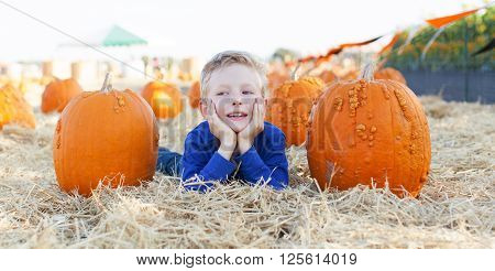 panorama of cheerful little boy lying with pumpkins at the field or pumpkin patch