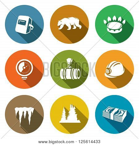Gas transit Icons Set. Vector Illustration. Isolated Flat Icons collection on a color background for design