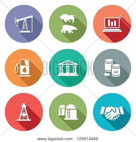 Exchange of gas and oil industry Icons Set. Vector Illustration. Isolated Flat Icons collection on a color background for design
