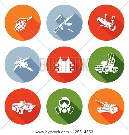 Weapons Icons Set. Vector Illustration. Isolated Flat Icons collection on a color background for design