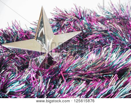 Colorful streamer and silver star on the background ** Note: Visible grain at 100%, best at smaller sizes