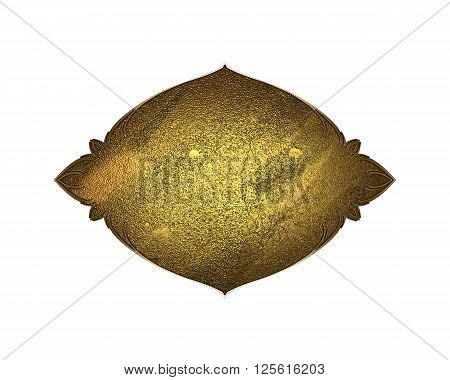 Gold Plate On White Background. Template For Design. Copy Space For Ad Brochure Or Announcement Invi