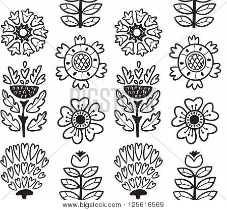 Awesome vector seamless patter of graphic leaves and flowers. Line vector background. Bright illustration, can be used for creating card, invitation card for wedding, wallpaper and textile.
