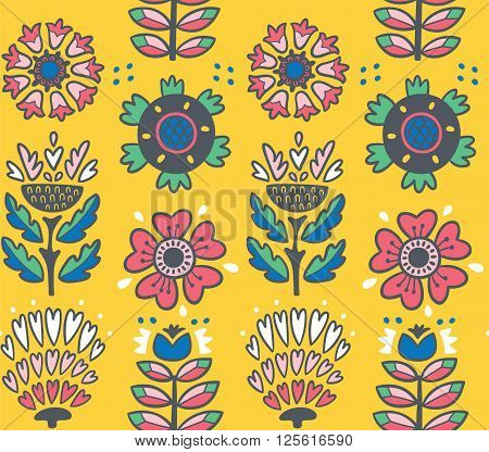 Awesome vector seamless patter of graphic leaves and flowers. Yellow vector background. Bright illustration, can be used for creating card, invitation card for wedding, wallpaper and textile.