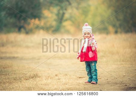 little smiling girl on autumn landscape with pinwheel toy