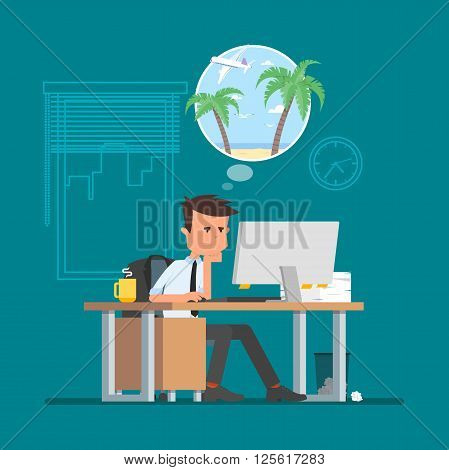Business man working hard and dreaming about vacation on a beach. Vector illustration in flat cartoon style. Office worker in stress dreaming to go to tropical island.
