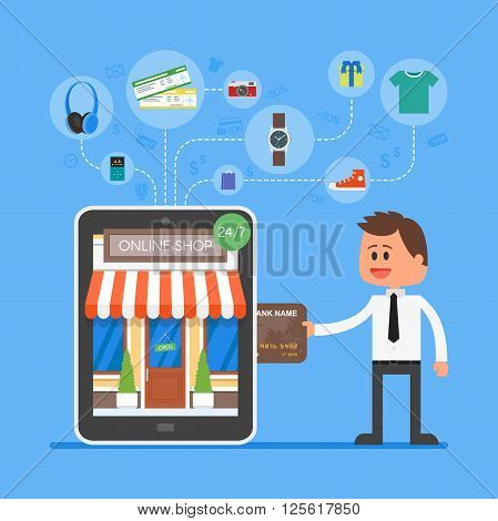 Online mobile shopping concept. Vector illustration in flat style design. Man buying products from tablet computer and make payment on internet.
