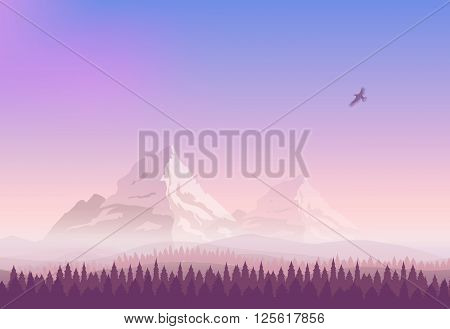 Vector landscape. Snowy mountains, gradient sunset sky and the pine forest. Silhouette of an eagle flying in the sky.