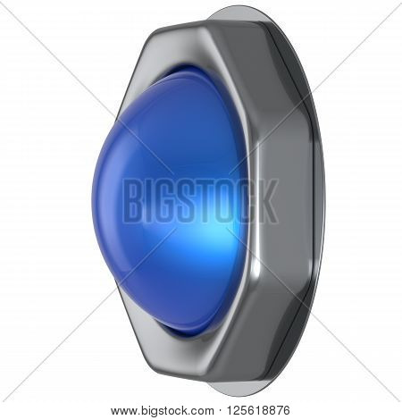 Push button blue start turn on off action activate switch ignition power electric indicator design element metallic cyan shiny blank led lamp. 3d render