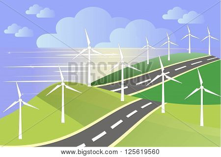 White windmills on green fields, sea coast, blue sky, grey road, vector